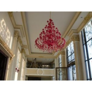 Big Red Glass Chandelier for Hotel (02)