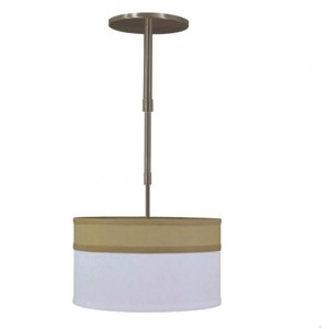 Bronze and White Linen Drum Shade Pendant Light PL31003