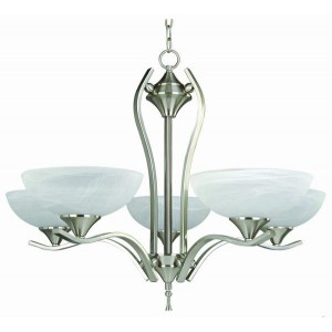 Contemporary Chandelier with Alabaster Glass Shade CH42013
