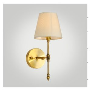 Antique Brushed Brass Wall Sconce with a Fabric Shade WL11091